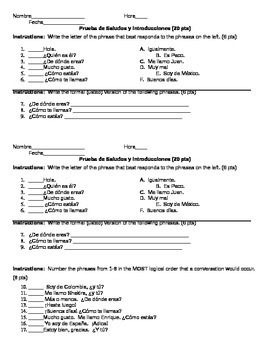 Spanish Greetings and Intros Quiz