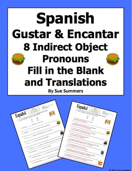 Spanish Gustar and Encantar Fill In the Blank and Translat