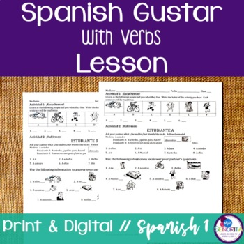 Spanish Gustar with Verbs Lesson