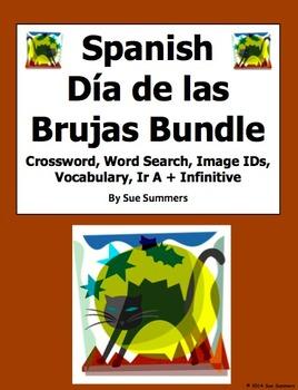 Spanish Halloween Bundle - 2 Puzzles, Vocabulary, Image ID