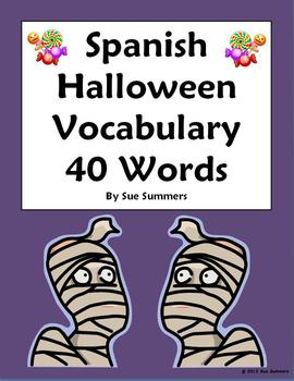 Spanish Halloween Vocabulary Reference 40 Words - Dia de l