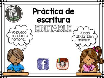 Spanish Handwriting Practice - Names - EDITABLE