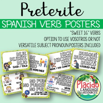 Spanish High Frequency Verb Posters Past Tense (PRETERITE