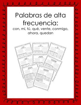 Spanish High Frequency Words  Activity2