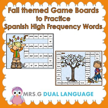Otoño: Spanish High Frequency Words Game  Boards and 4-in-