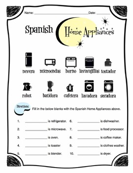 Spanish Home Appliance Words Worksheet Packet