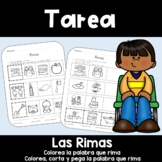 Spanish Homework:  015:  TAREA Las Rimas:   Spanish Rhyming