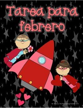 Spanish Homework for Kindergarten/1st Grade: February Span