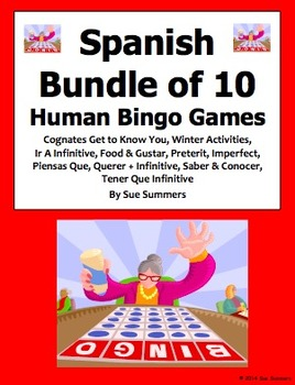 Spanish Human Bingo Game Speaking and Written Follow-up Bu