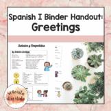 Spanish I Binder Handout: Greetings