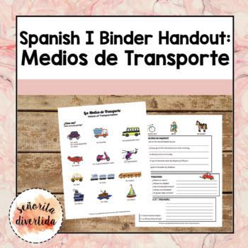 Spanish I Binder Handout: Transportation Methods