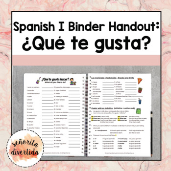 Spanish I Binder Handout: Gustar-What do you like to do?