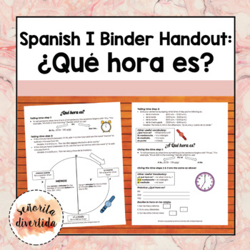 Spanish I Binder Handout: ¿Qué hora es?