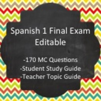 Spanish I - Final Exam Package