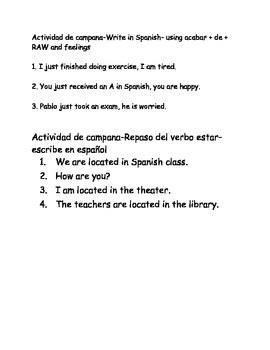 Spanish I bellwork acabar de, feelings, estar, answering q