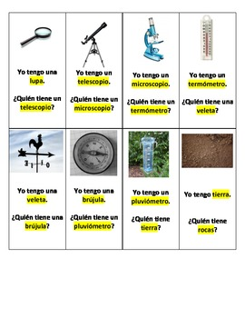 Spanish I have, Who Has? Science Vocabulary (Yo tengo, ¿Qu