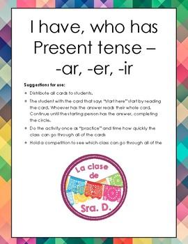 Spanish I have, who has: regular present tense verbs