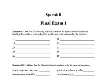 Spanish II Final Exam 1