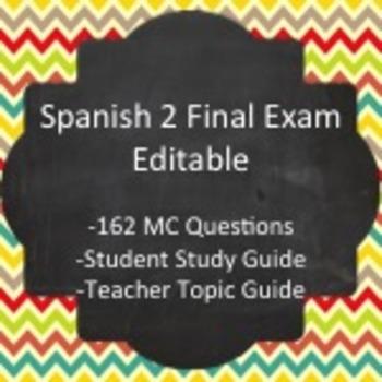 Spanish II - Final Exam Package