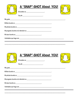 """Spanish II First Day - """"SNAP""""Shot (Snap Story) Information Sheet"""