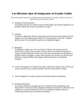 Spanish Immigration Unit: Different Immigrant types readin