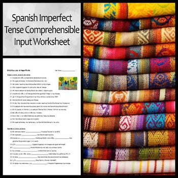 Spanish Imperfect Comprehensible Input Worksheet