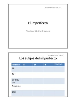 Spanish Imperfect (El imperfecto) Guided Notes Handout for