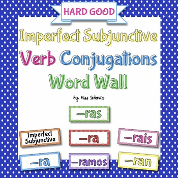 Spanish Imperfect Subjunctive Verb Conjugations Word Wall