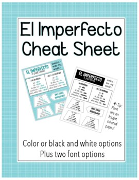 Spanish Imperfect Tense Cheat Sheet