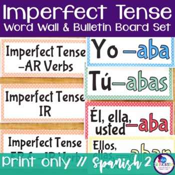Spanish Imperfect Tense Verb Conjugations Word Wall & Bull