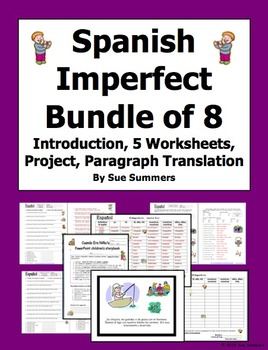 Spanish Imperfect Verbs 16 Page Bundle of 8 Items
