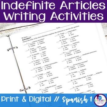 Spanish Indefinite Articles Writing Activities