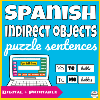 Spanish Indirect Object Pronouns Puzzle Sentences (hands-o