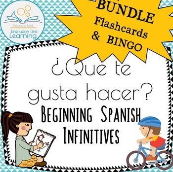 Spanish Infinitives BUNDLE Vocabulary Flashcards & BINGO Q