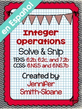 Spanish Integer Operations Solve and Snip