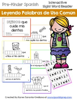 "Spanish Interactive Sight Word Reader ""DIJISTE que cuide m"