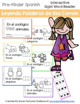 "Spanish Interactive Sight Word Reader ""En el zoológico VES"
