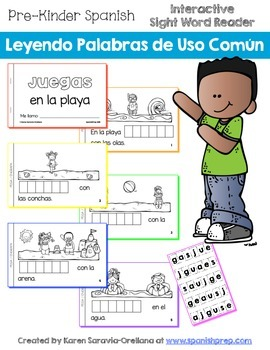 "Spanish Interactive Sight Word Reader ""JUEGAS en la playa"""