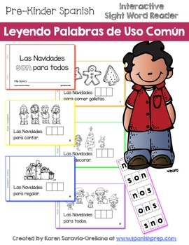 "Spanish Interactive Sight Word Reader ""Las Navidades SON p"