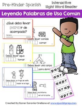 """Spanish Interactive Sight Word Reader """"¿Qué debo llevar PA"""