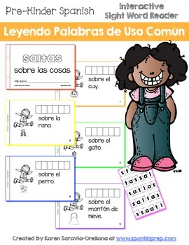 "Spanish Interactive Sight Word Reader ""SALTAS sobre las cosas"""