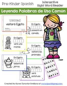 """Spanish Interactive Sight Word Reader """"USTED dice que visi"""