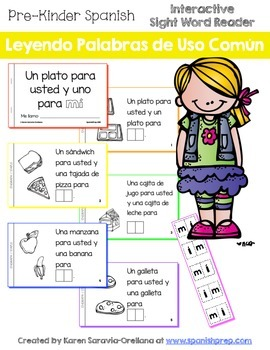 "Spanish Interactive Sight Word Reader ""Un plato para usted"