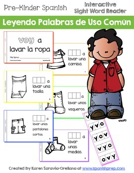 "Spanish Interactive Sight Word Reader ""VOY a lavar la ropa"""