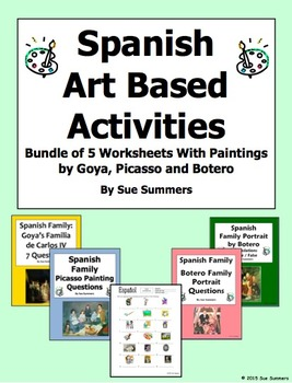 Spanish Art Based Activities Bundle - 5 Worksheets