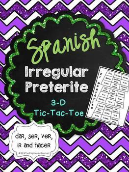 Spanish Irregular Preterite 3-D Tic-Tac-Toe Game