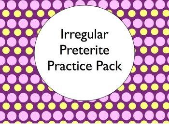 Spanish Irregular Preterite Conjugation Worksheets Practice Pack