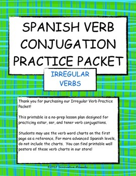 Spanish Irregular Verb Practice Printable Packet