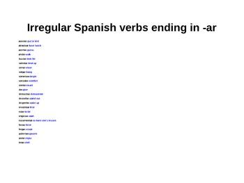 Spanish Irregular Verbs