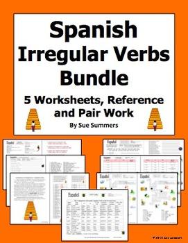 Spanish Irregular Verbs Bundle 5 Worksheets, Pair Work Act